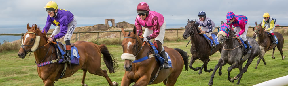 Horse Racing with Les Landes in background